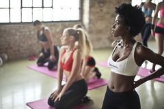 Selective Focus Photography of Woman in White Sports Brassiere Standing Near Woman Sitting on Pink Yoga Mat Royalty Free Stock Image