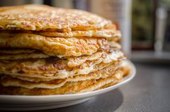 Selective Focus of Pile of Pan Cakes Stock Photo