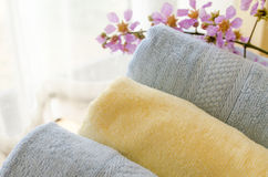 Selective focus of rolled bath towels at home Stock Image