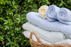 Selective focus of rolled bath towels at home Stock Images