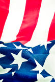 Selective Focus of ruffled American flag Royalty Free Stock Images