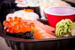 Selective focus of salmon caviar ikura sushi Royalty Free Stock Photos