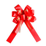 Selective focus shiny red satin ribbon on white background Stock Photography
