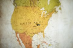 Free Selective Focus Shot Of A Black Pin On The United States Country On The Map Stock Photography - 164242412