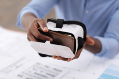 Selective focus of a smartphone being put into 3d glasses Stock Photography
