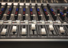 Selective focus sound mixer background. Stock Images
