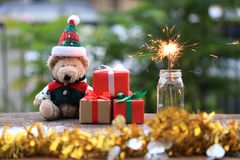 Selective focus of sparklers and gift box for Christmas and New Year`s Day or Greeting season stock photos