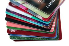 Selective focus, Stack of credit card and debit card on white background.financial background concept. isolated.  royalty free stock photo
