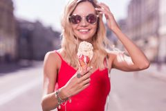 Selective focus of a tasty fruit ice cream Stock Image