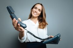 Selective focus of a telephone receiver Stock Photography