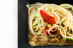 Selective focus Thai food the papaya salad or somtum in dish on. White background royalty free stock images