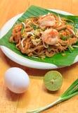 Selective focus Thai noodle or padthai with  shrimp and blur veg Stock Photos
