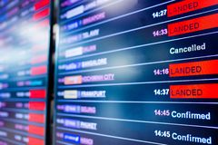 Selective focus to display flight information board in international airport. Information for passenger in airport terminal stock photography