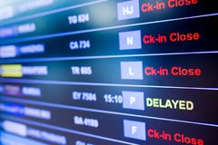 Selective focus to display flight information board in international airport. Information for passenger in airport terminal royalty free stock photo