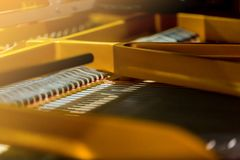 Selective focus to Inside a grand piano. royalty free stock photography