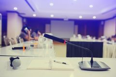 Selective focus to wireless conference microphones royalty free stock images