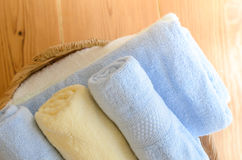 Selective focus of towels in wicker basket at home Royalty Free Stock Photography