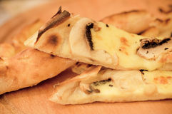 Selective focus on turkish pizza with mushrooms and cheese Stock Photo