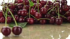 Selective focus of two cherries and a bunch of cherries. stock video footage