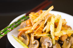 Selective focus on vegetables and mushrooms, chinese food Royalty Free Stock Images