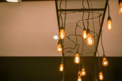 Selective focus vintage lighting on the ceiling for decoration. royalty free stock photography
