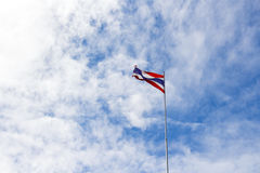 Selective focus of waving Thai flag of Thailand Stock Image