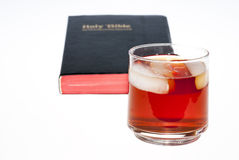 Selective Focus Whiskey and Bible Royalty Free Stock Photo