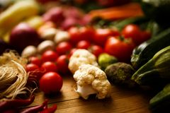 Selective focus white broccoli with Vegetables backgrounds Stock Photography