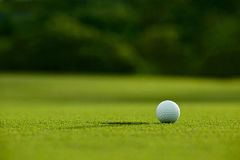 Selective focus. white golf ball near hole on green grass good f Royalty Free Stock Photography