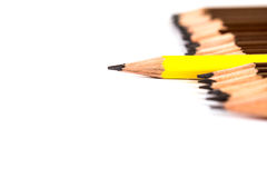 Selective focus of wooden pencil arrange  with one different as Stock Photos