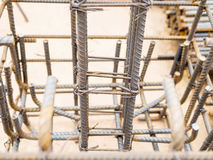 Selective focused steel rods in reinforced concrete footing and column Stock Image