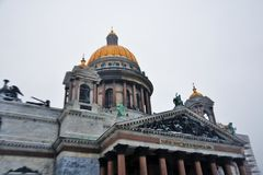 Selective focus photo of Saint Isaacs Cathedral in Saint Petersburg, Russia. stock photos