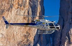 Selective Photograph of White Helicopter Near Brown Mountains Royalty Free Stock Photos