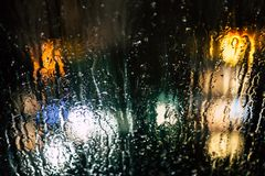 Selective Photography of Glass Window With Drops of Water during Nighttime Stock Photo