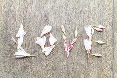 Selective soft focus of  pink flowers formed in word love on vintage wooden background Royalty Free Stock Images