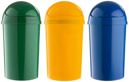 Selective trash can made of colored plastic Royalty Free Stock Image