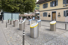 Selective trash containers in the centre of Thun, Switzerland Royalty Free Stock Image