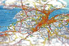 City of Belfast on a map - selective focus stock images