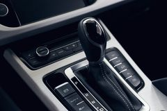 Selector automatic transmission with perforated leather in the interior of a modern expensive car stock images