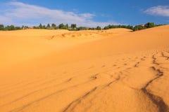 Selekcyjna ostrość i głębia fiedl Czerwone piasek diuny Mui Ne, Obrazy Stock