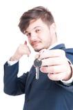 Selekcyjna ostrość pokazuje wpisuje i dzwoni agent nieruchomości Zdjęcie Stock