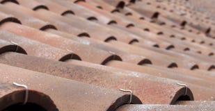 selekcyjnej ostrości perspektywiczny widok tradycyjny portuguese wyginał się gliniane dachowe płytki obrazy stock