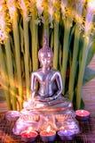 Selektiv fokus av den buddha statyn med suddigt bränningstearinljusljus i mjukt ljus och den vita blomman av globbaträdet Royaltyfria Foton