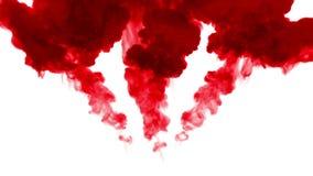 Selektiv fokus Den röda gouachen vrider i vatten och flyttning i ultrarapid Bruk för bläckig bakgrund eller bakgrund med rök elle royaltyfri illustrationer