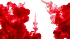 Selektiv fokus Rött i vatten och flyttning i ultrarapid Bruk för bläckig bakgrund eller bakgrund med rök- eller färgpulvereffekte royaltyfri illustrationer