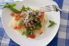 selektiv platta för pasta för djupfältgaffel Royaltyfria Bilder