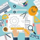 selektiv working för ritningteknikerfokus Fotografering för Bildbyråer
