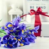 Selektiver Fokus auf Irisblumen, auf dem Hintergrundweißgeschenk Lizenzfreie Stockfotografie