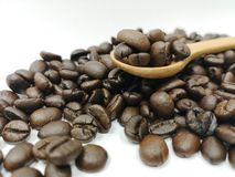 Selektiver Fokus Kaffeebohnen, Gesundheit, Koffein, Café lizenzfreies stockfoto