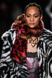 Selena Forrest walks the runway at the Versace Pre-Fall 2019 Collection. NEW YORK, NEW YORK - DECEMBER 02: Selena Forrest walks the runway at the Versace Pre stock image